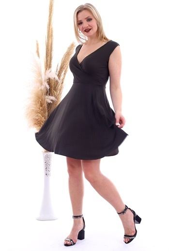 Cottonmood 20070781 Örme Krep Eteği Pliseli Kruvaze Yaka Kolsuz Elbise Vizon Yilan Haki